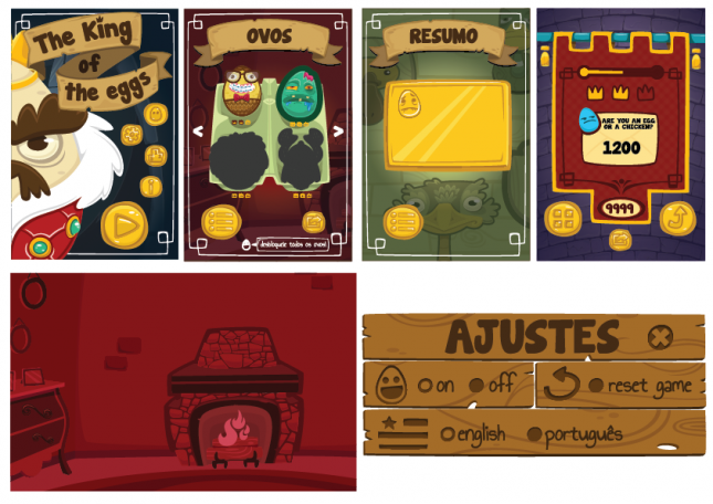 The King of the Eggs (mobile): menus