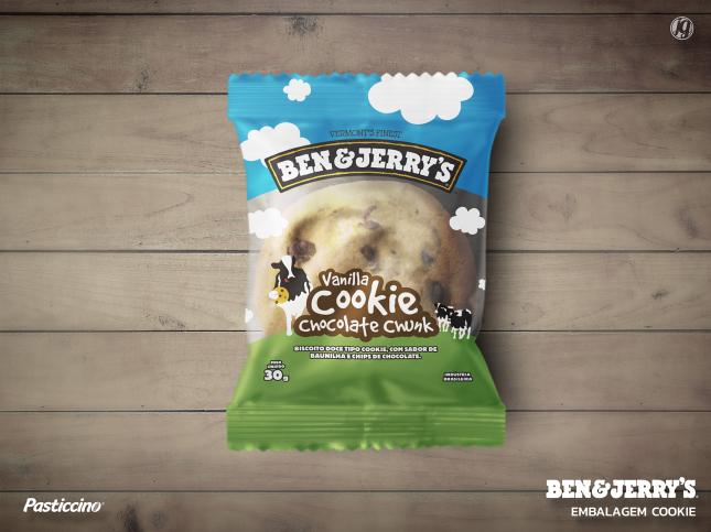 Amostra de embalagem: cookie tipo americano - Ben & Jerry